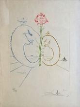 d'après Salvador DALI Paysage à la rose eau-forte en couleurs sur papier Japon nacré, n° 85/114 (traces de plis), signée en bas à ...