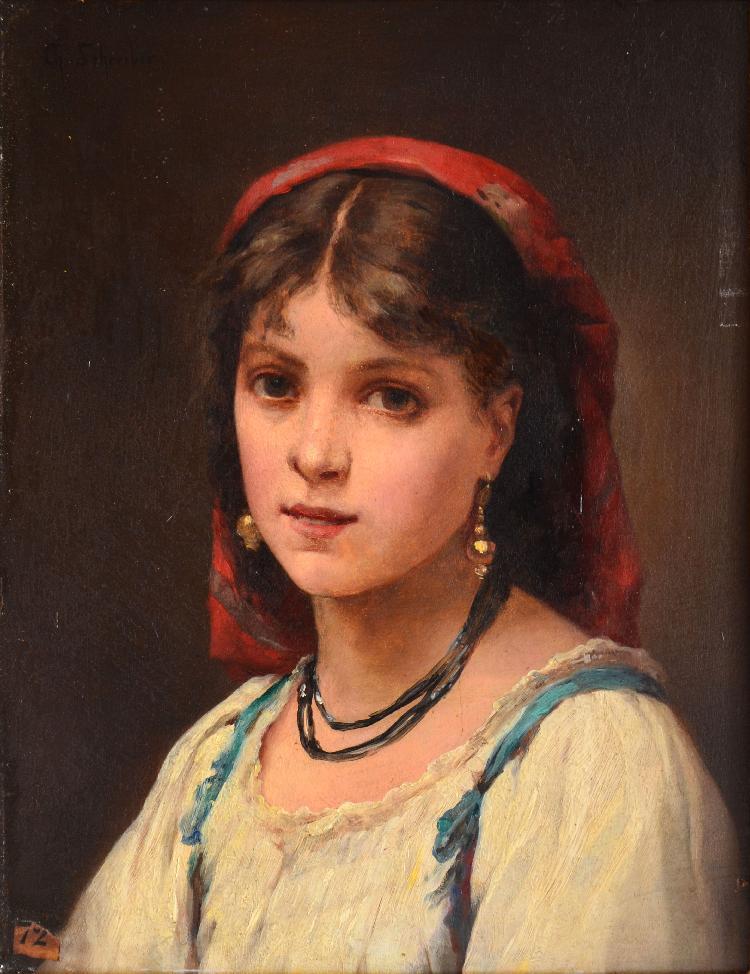 Charles SCHREIBER Jeune fille au foulard rouge huile sur panneau, signé en haut à gauche, 24 x 18,5 cm.