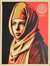 d'après Shepard FAIREY Peace sérigraphie en noir, rouge et beige, n° 319/450, signée en bas à droite, 61 x 46 cm.