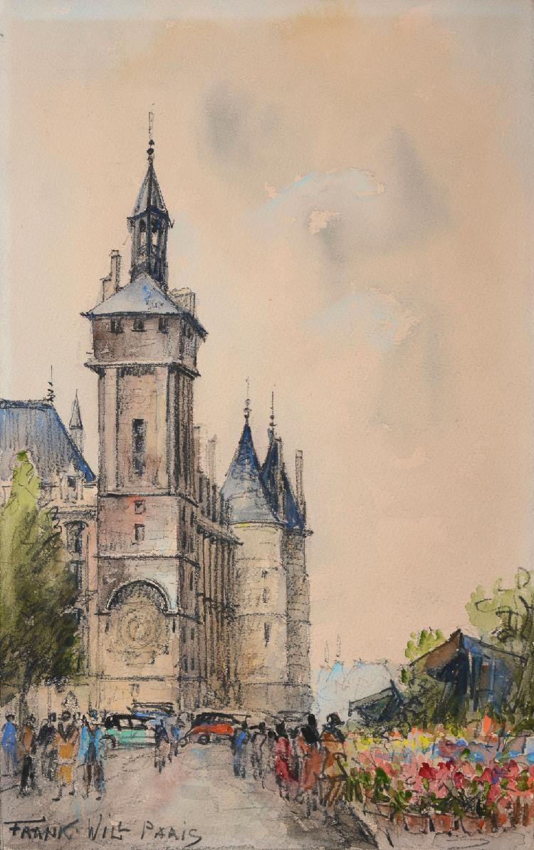 FRANK-WILL La Conciergerie et le marché aux fleurs aquarelle en feuille (insolation), signée en bas à gauche, 36 x 23 cm.