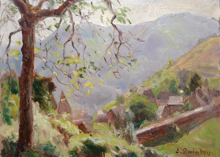 Edmond QUINTON Paysage de Conques huile sur isorel, signé en bas à droite, cachet d'atelier au dos, 24 x 33 cm.