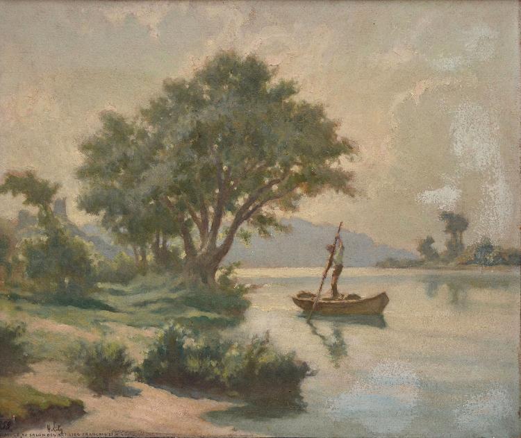 Hippolyte LETY Rivière au batelier huile sur carton (salissures), signé en bas à gauche, 46 x 55 cm.
