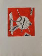 d'après Henri GOETZ Composition fond rouge eau-forte en couleurs, en bas à droite : Goetz, en bas à gauche : 12/30, 65 x 50 cm....
