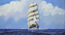 Léon HAFFNER Trois mâts en haute mer pochoir à la gouache avec des réserves de papiers (piqûres), signé en bas à droite dans la pl...