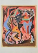 d'après André MASSON Personnages stylisés lithographie en couleurs, en bas à droite : andré Masson, en bas à gauche : 10/150, 75 x...
