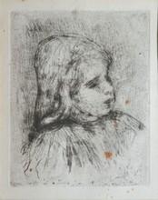 Claude Renoir, de trois-quart à droite, 1908 vernis mou en noir sur vergé bleu pâle (rousseurs), non signé, 16 x 13 cm.