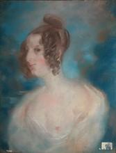 Attribué à Jules Robert AUGUSTE Portrait présumé de Sophie Gay, poétesse amie de Victor Hugo (selon une inscription au dos) pastel...