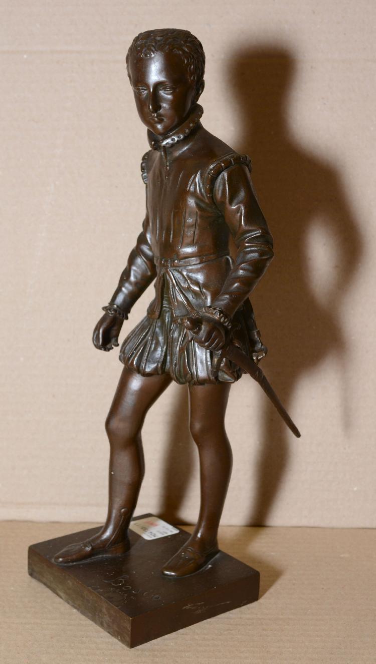 François BOSIO Henri IV enfant bronze à patine brune (enfoncement sur le côté de la terrasse, salissures et petites taches), sur l...