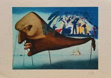 d'après Salvador DALI Composition surréaliste lithographie en couleurs sur Japon (petites pliures), en bas à droite : Dali, en bas...