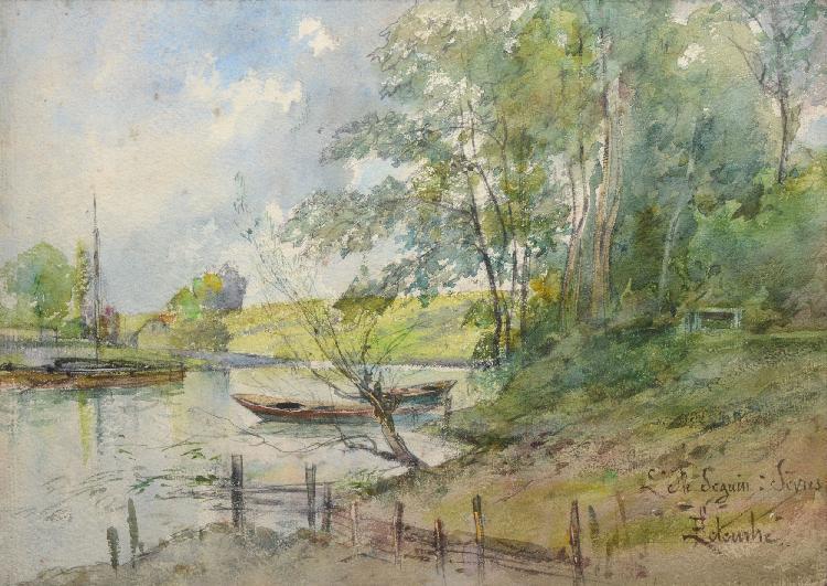 F. LETEURTRE L'Ile Seguin à Sèvres aquarelle, signée et située en bas à droite, 27 x 38 cm.