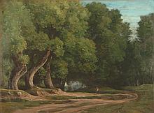 Louis CABAT Chemin en lisière de forêt huile sur toile, signée en bas à gauche, cachet sur le châssis, 61 x 81 cm.