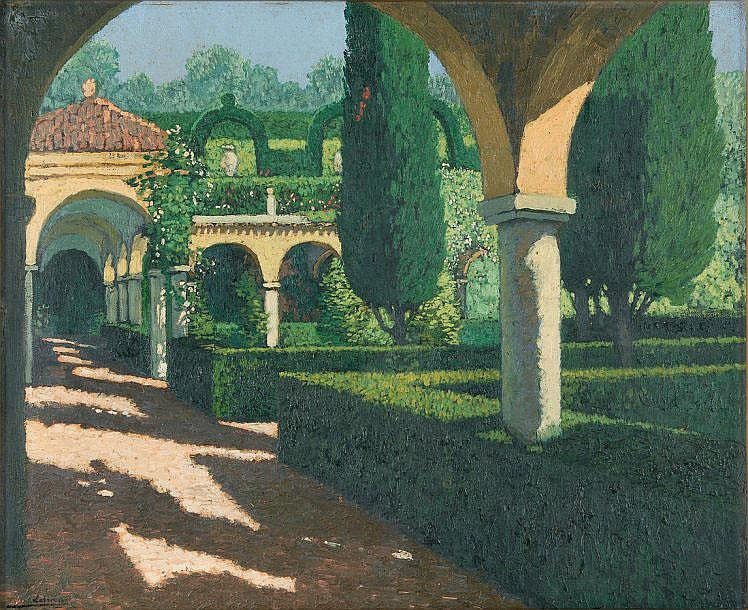 Pierre LABROUCHE   Garden with arcades, the cloister  Oil on canvas (small missing part), signed lower left.  50 x 61 cm.