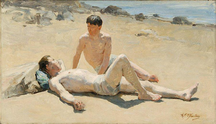 Alexandre Jacques CHANTRON   Two swimmers on the beach  Oil on canvas (restoration), signed and dated lower right.  37,5 x 55 cm.