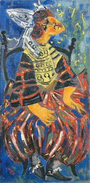 Bernard PIGA   The Breton, 1960  Oil on canvas, signed and dated lower left, titled and dated on the back.  120 x 60 cm.