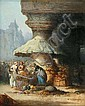 Léonard SAURFELT   Marchande de légumes devant l'église, 1868 - Vegetables stallholder in front of a church, 1868  Oil on canvas.  Cracks.  signed and dated on the lower right.  46 x 38 cm., Leonard Saurfelt, Click for value
