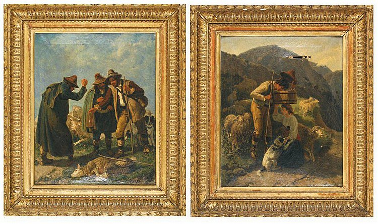 Giuseppe PALIZZI Berger et porteuse d'eau - Herdsman and water carrier - Marchands de moutons - sheep merchant Two oils on canvas, forming a pair. Damage on one, cracks. Signed on the lower right. On the back numbered 243 and 244, stamp de Desforges