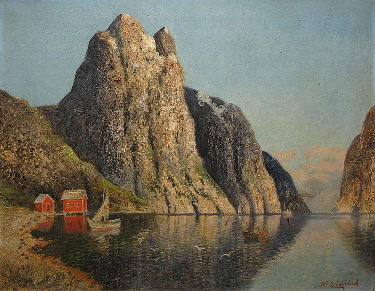 H. ELMBLAD   Fjord Hardanger, Norvège - Fjord Hardanger, Norway  Oil on board, signed on the lower right.  Located on the back.  55 x 68 cm.