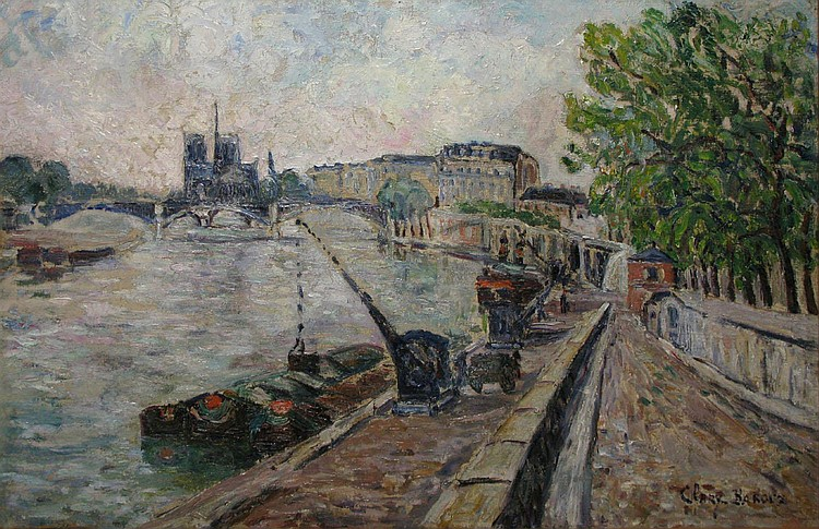 Adolphe CLARY-BAROUX   The Seine River, Notre-Dame seen from the Austerlitz Bridge, 1921    Oil on canvas (restorations), signed lower right, titled and dated on the frame.  54 x 81 cm.