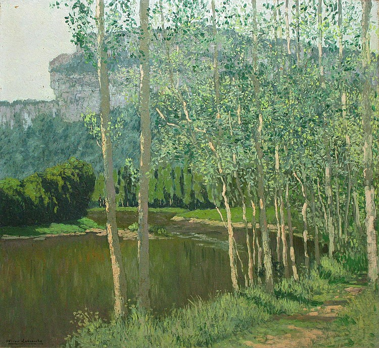 Pierre LABROUCHE   Path alongside the water, Saint Antonin, Spring  Oil on canvas, signed lower left, located on the frame.  58 x 60 cm.