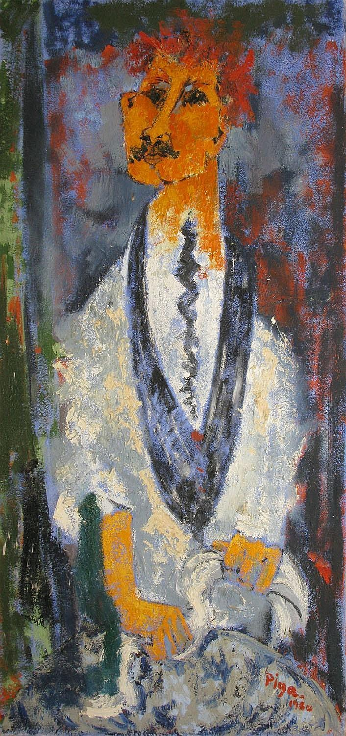 Bernard PIGA  The waiter, 1960  Oil on canvas (light accidents), signed and dated lower right, titled and dated on the back  120 x 60 cm.