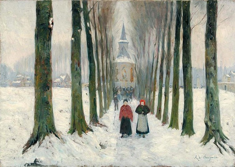 René DE BAUGNIES  Allée d'arbres enneigée Winter scene. Path with border of snowy trees. Restored. Signed on the lower right. 75 x 105 cm.