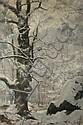Paul LOUCHET  Chêne sous la neige Winter landscape, Oak under snow. Oil on canvas, signe don the lower right. 46 x 33 cm., Paul Louchet, Click for value