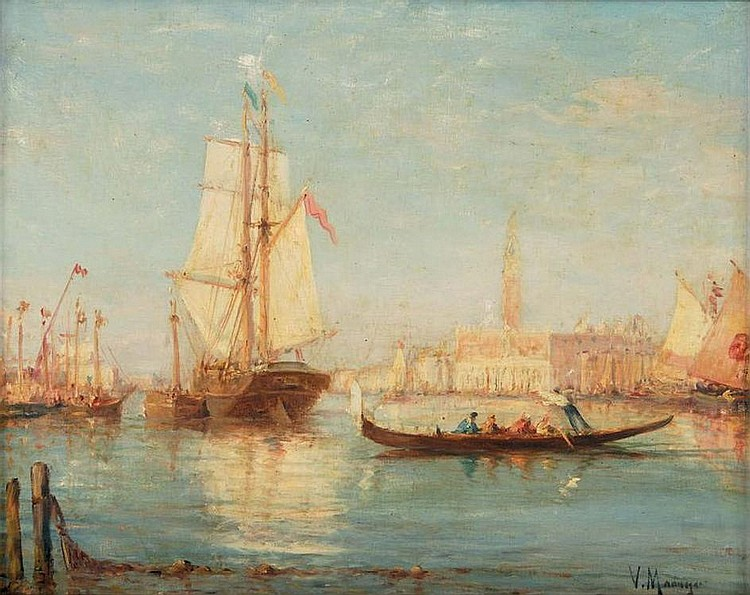 Vincent MANAGO  Gondoles à quai devant le Palais des Doges Italian, Venetian view, Venice, Gondola boats at the bank in front of Doge's Palace. oil on canvas signed on the lower right. 38 x 46 cm.
