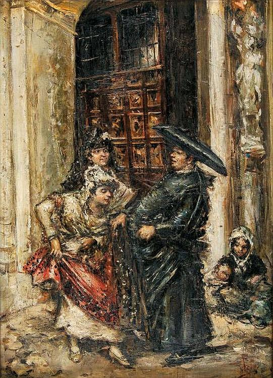 José DENIS BELGRANO, Sévillanes et ecclésiastique, Spanish twon scene, Sevilla, women and cleric, Oil on panel