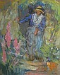 Georges GOBO  Paysanne au jardin Peasant in a garden. Pastel on grey paper. Stamp of the signature on the lower right. 25 x 20,5 cm., Georges Gobô, Click for value