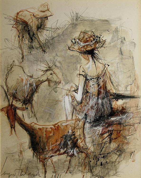 Jacques LALANDE  La chevrière shepherdess (goat girl)  Mixed media on paper. Signed on the lower left. 34 x 28 cm.