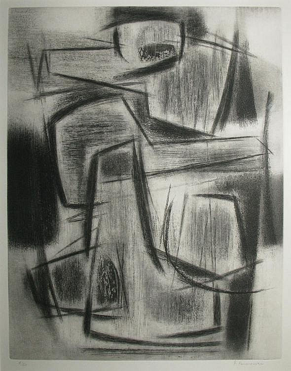 Félicia PACANOWSKA  Composition Black etching, numbered n° 5 / 50, signed on the lower right. 54 x 41 cm.