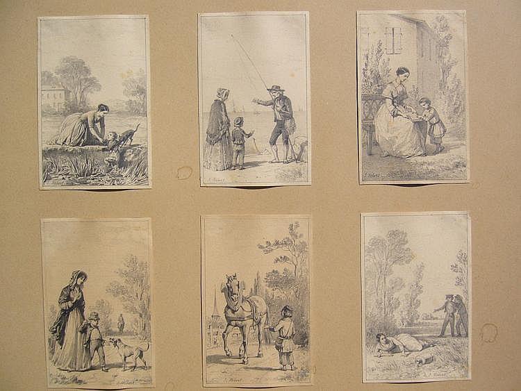 HEBERT Jules Drawings Petites scènes en six