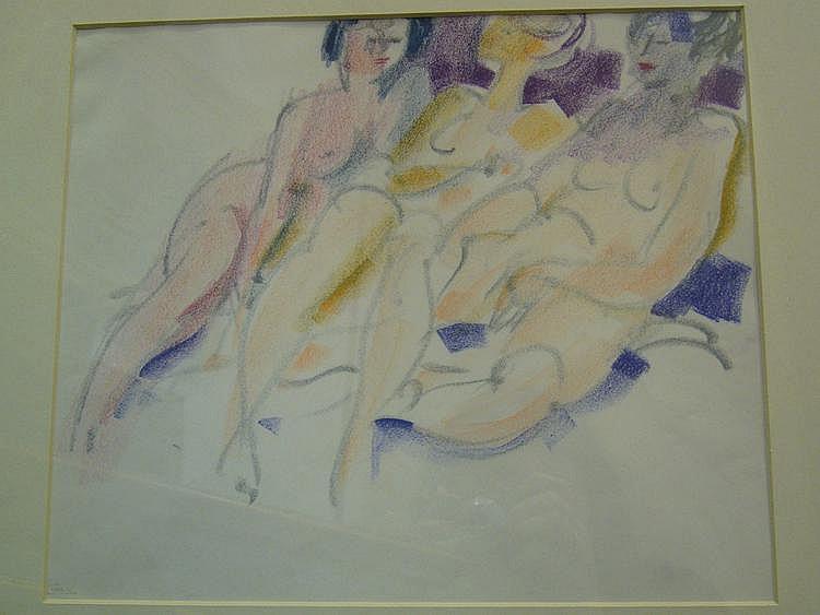 CLUSEAU-LANAUVE Jean Pastel Trois nus