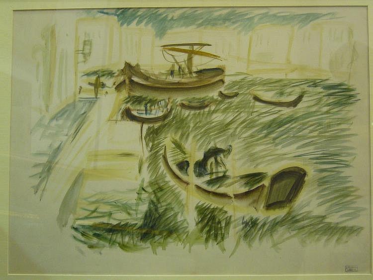 CLUSEAU-LANAUVE Jean Watercolor Les jonques
