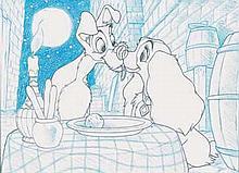 LA BELLE ET LE CLOCHARD - Ensemble de deux dessins à la mine de...