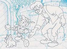 PINOCCHIO - Ensemble de deux dessins à la mine de plomb et au crayon.