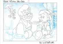 PINOCCHIO et BLANCHE NEIGE - Ensemble de deux dessins à la mine de...