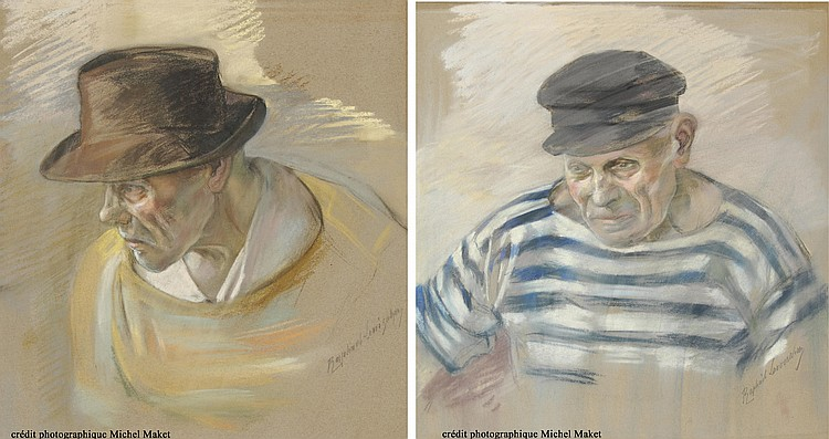 Raphaël Lewisohn. Two pastels, a man with a hat and a sailor