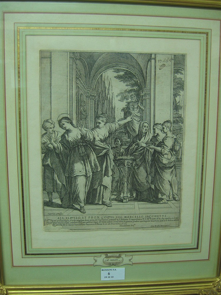 Giovanni Battista MERCATI  Sainte-Viviane refusing to sacrifice the gods payennes according an array of Pierre de Cortona.  (Bartsch, no 5).   26 x 21 cm.  Etching.Beautiful print, median horizontal bend with some fractured on the right, lack in the