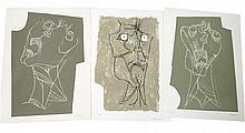 GUAYASAMIN Oswaldo 1919-1999 Lot de 3 gravures, 1973: 1) El grito 3 variante. Signée et numérotée au crayon par l'artiste V/XXV - 76 x 56 cm 2) El grito 2. Signée et numérotée au crayon par l'artiste HC 23/25 - 76 x 56 cm 3) El grito 1 variante.