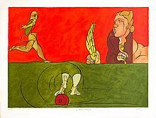 ADAMI Valerio 1935-   Le talon d'Achille. Lithographie signée en bas à droite et numérotée 30/75 - 65 X 84 cm