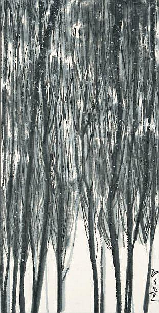 MA QUN  Reeds  Black ink wash drawing, signed bottom right.  135 x 69 cm.