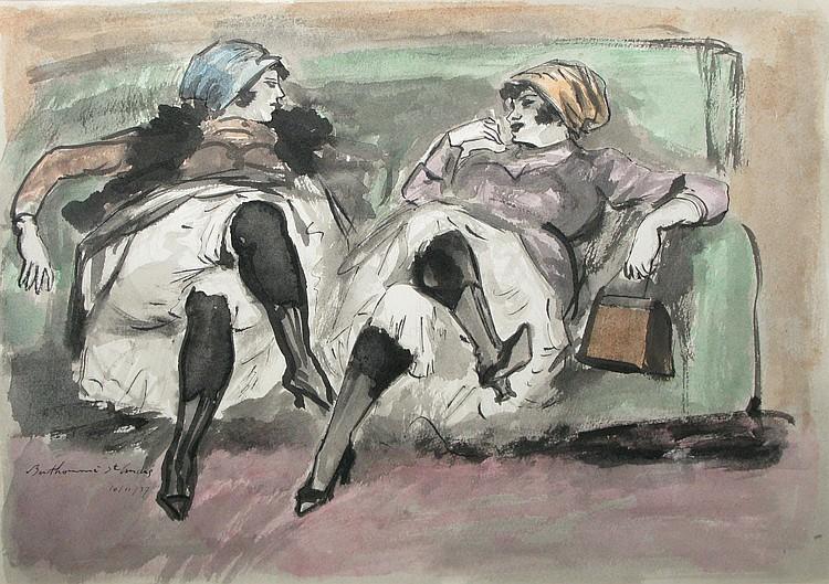 Louis BERTHOMMÉ-SAINT-ANDRÉTwo girls at the sofa, 10/11/37Watercolour, signature and date bottom left.22x 31 cm.