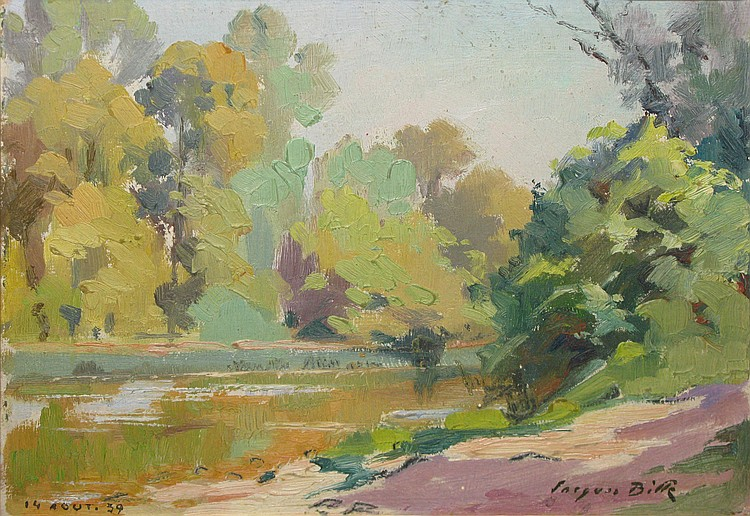 Jacques BILLE   River with trees,   August 14, 1939 Oil on board, signed lower right, dated lower left.   15.5 x 21 cm.