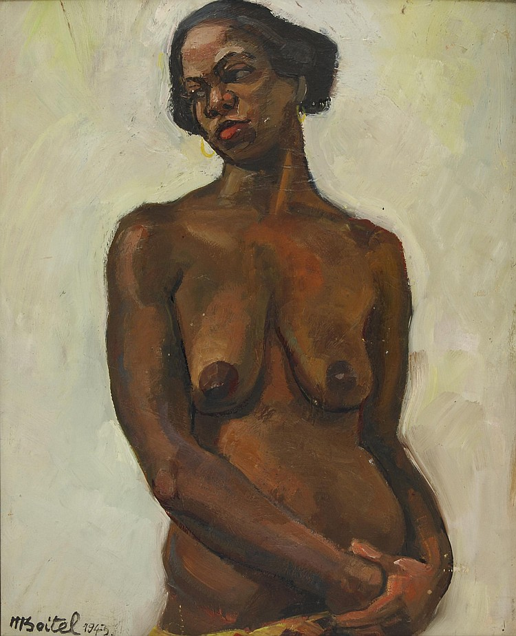 Maurice BOITEL African bust, 1943 Oil on cardboard. On the back a study of couple, signed and dated on the lower left. 60,5 x 48 cm.