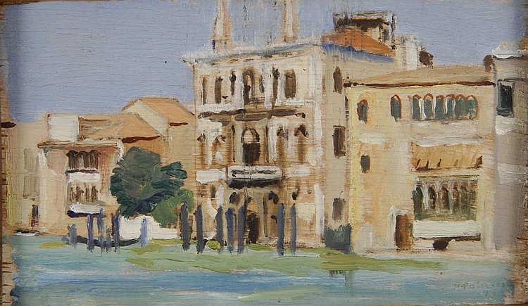 Bernardino PALAZZI Venice, 1945 Oil on Panel, signed and dated lower right. 8 x 14 cm.