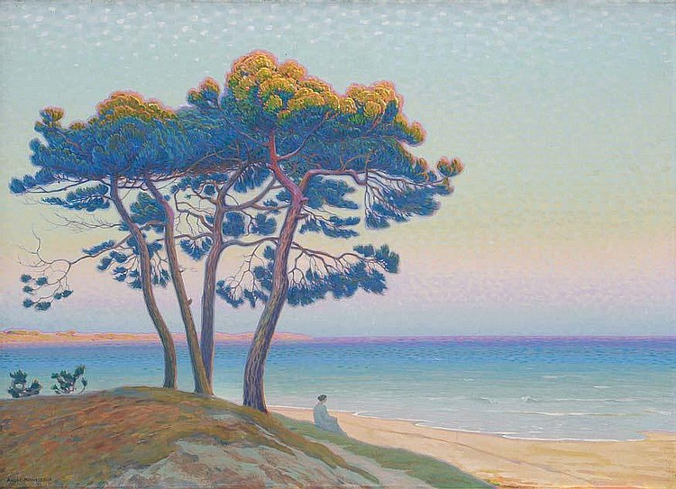 André MORISSET Méditation, pin en bord de mer. André MORISSET meditation, pine near the sea Oil on canvas probably in its original framework painted by the artist. Signed on the lower left. Annotated on a label on the reverse: Mr. and Mrs. BABLIN.