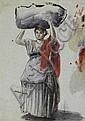 Achile BÉNOUVILLE Paysanne italienne Achile BÉNOUVILLE Italian Paysanne Watercolour on blue paper (light spotting), stamp of the sale after the artist's death on the back back (Lugt 228 a). 27.5 x 19.5 cm