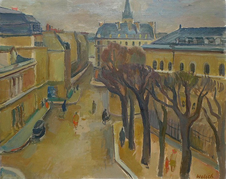 Paul WELSCH  Paris scene, Rue Bonaparte, 1944  Oil on canvas (restorations). Signed lower-right. Label on the chassis: Salon d'Automne with a n ° 19. 60 x 73 cm.