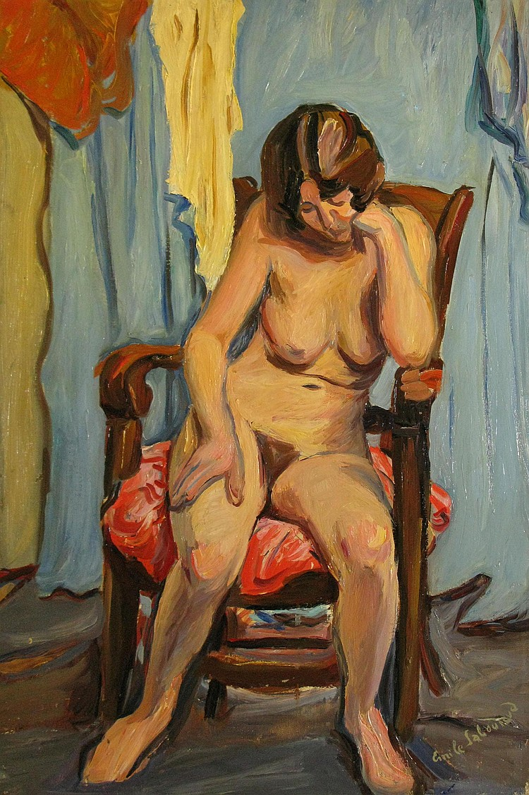 Émile SABOURAUD Modèle à la chaise, Fev. 1928 Émile SABOURAUD Model and Chair, Feb 1928 Oil on canvas, signed lower right, dated on the back of the mount. 61 x 43 cm.